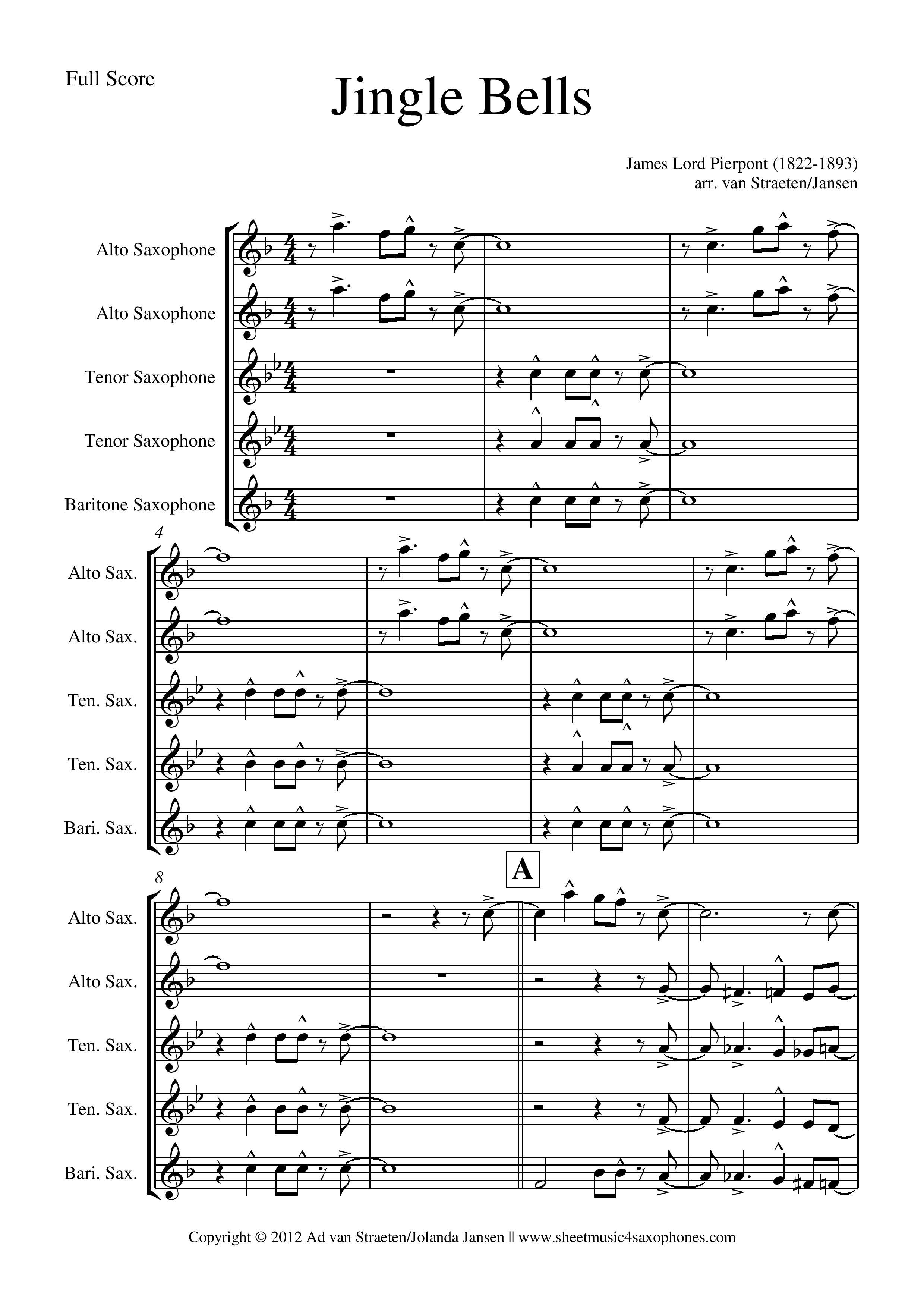Easy Saxophone Quartet Sheet Music Free
