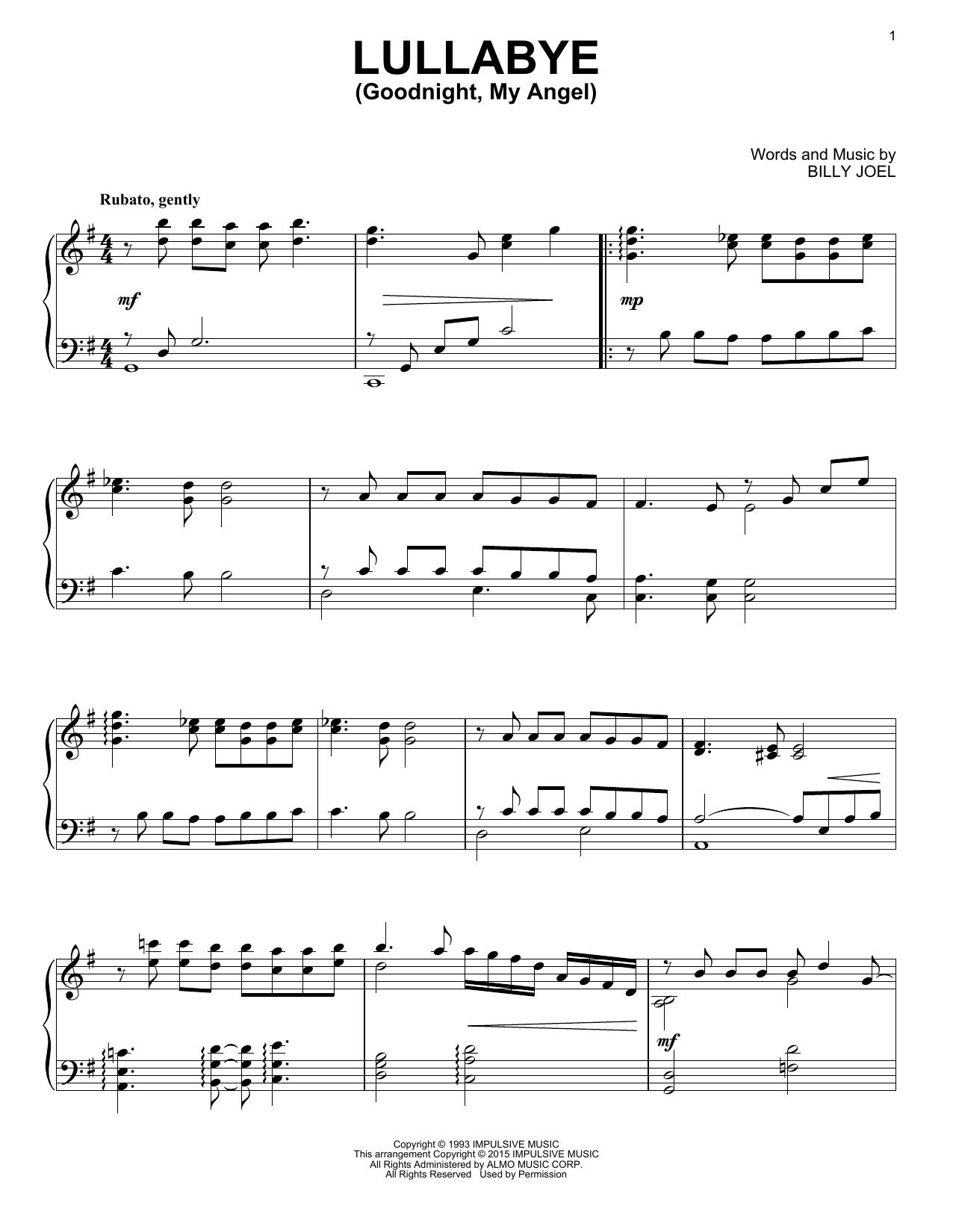 Billy Joel Lullaby Sheet Music : billy, lullaby, sheet, music, Lullabye, (Goodnight,, Angel), Billy