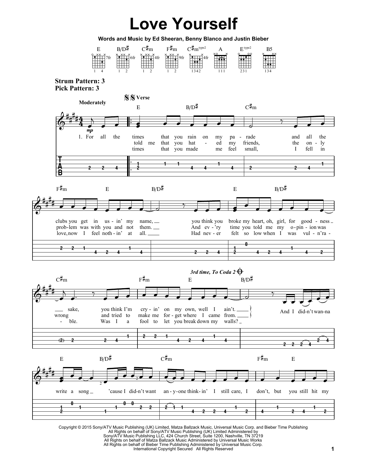 Love Yourself Ukulele Chords : yourself, ukulele, chords, Yourself, Justin, Bieber