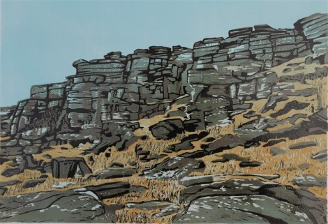 Stanage Tower face colour Linocut 1MB