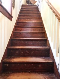 How to Refinish Old Wood Stairs - She Holds Dearly