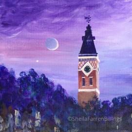 "Abbot Hall Twilight, acrylic, 8"" x 8"""