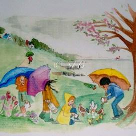 "Rainy Day Fun, watercolor, 8"" x 10"""