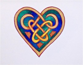 "Celtic Heart with Rings, ink & pencil, 8"" x 10"""