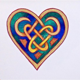 """Celtic Heart with Rings, ink & pencil, 5"""" x 7"""""""