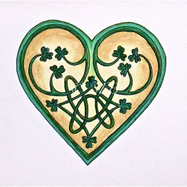 "Celtic Heart with Tiny shamrocks, ink & pencil, 5"" x 7"""