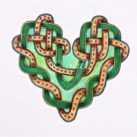 "Green Celtic Heart, ink & pencil, 5"" x 7"""