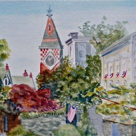 "Marblehead Morning, watercolor, 16"" x 20"" (Old Town, Marblehead, MA)"