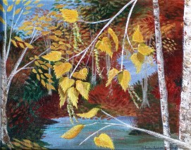 "Golden Birch, acrylic, 8"" x 10"""