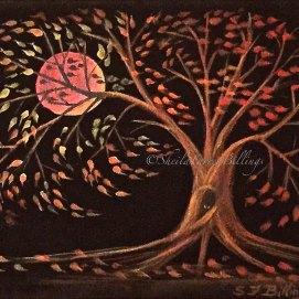 "Blood Moon, acrylic, 8"" x 10"""