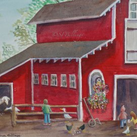 "Feeding Time, watercolor, 8"" x 10"" (Children's Barn at Endicott Park, Danvers, MA)"