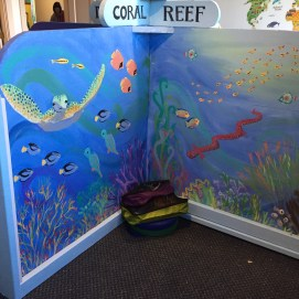 Curious World Exhibit, Coral Reef Biome mural. Curious City Pop-Up Children's Museum, Peabody, MA