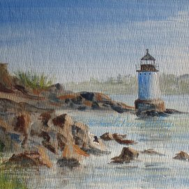 "Winter Island Light, acrylic, 8"" x 10"" (Salem, MA)"