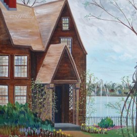 "H7G April Garden, acrylic, 8"" x 10"" (The House of the Seven Gables, Salem, MA)"