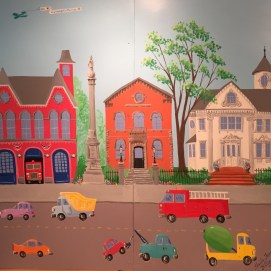 Front wall of Main St mural: Fire Station, Civil War Memorial, Peabody Public Library, O'Shea Mansion