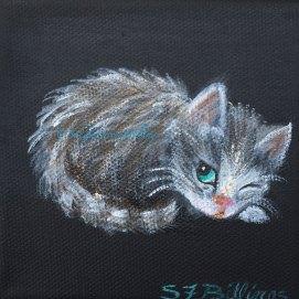 """Peeking Kitten, acrylic, 6"""" x 6"""""""