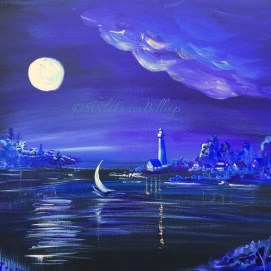 "Moonlight Sail, acrylic, 16"" x 20"""