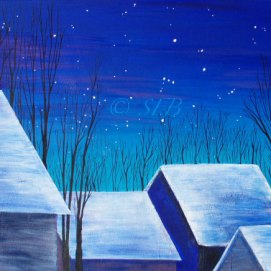 "Orion Sky, acrylic, 18"" x 24"" (Gallows Hill, Salem, MA)"