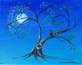 """Owl Moon, acrylic, 8"""" x 10"""""""