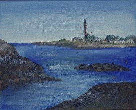 "September Light, acrylic, 8"" x 10"" (Marblehead Light, Chandler Covey Park, Marblehead, MA)"