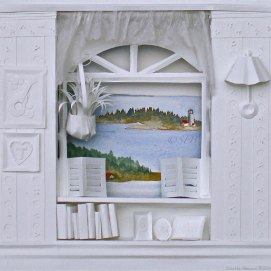 "Sea Breeze, mixed media, 14"" x 14"" (paper sculpture with watercolor view of Ten Pound Island, Gloucester, MA)"