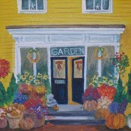 "Fall Florist, acrylic, 8"" x 10"" (Old Town, Marblehead, MA)"