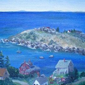 "Monhegan Island View, acrylic, 8"" x 10"" (Monhegan Island, ME)"