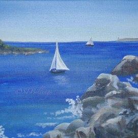 "Salem Sails, acrylic, 8"" x 10"" (Salem Harbor, Salem, MA)"