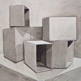 "Box City, watercolor, 16"" x 20"""