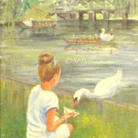 "Feeding the Swan, acrylic, 5"" x 7"" (Public Garden, Boston, MA)"