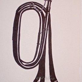 "High Contrast Bugle, ink, 8"" x 10"""