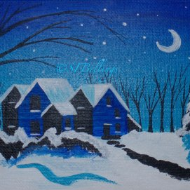 "Gables Night, acrylic, 5"" x 7"" (The House of the Seven Gables, Salem, MA)"