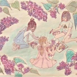 "Lilac Sunday, ink + pencil, 11"" x 14"""
