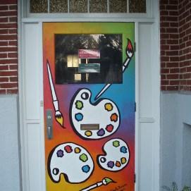 Front door mural, Danvers Art Association's historic 2-room schoolhouse, 105 Elliot St., Danvers, MA
