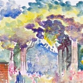 "Glen Magna Arbor, watercolor, 4"" x 6"" (Glen Magna Estate, Danvers, MA)"