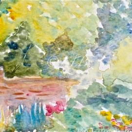 """Glen Magna Garden Wall, watercolor, 4"""" x 6"""" (Glen Magna Estate, Danvers, MA)"""