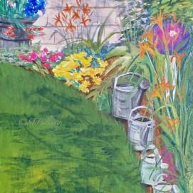"""Garden Parade, acrylic, 8"""" x 10"""""""