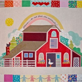 "Children's Barn, cut paper, 18"" x 24"""