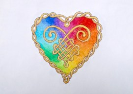 "Rainbow Celtic Heart, ink & pencil, 8"" x 10"""
