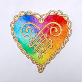 "Rainbow Celtic Heart, ink & pencil, 5"" x 7"""