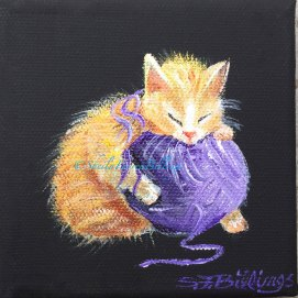 "Napping Kitty, acrylic, 4"" x 4"""