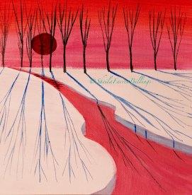 "Winter Shadows, acrylic, 8"" x 8"""