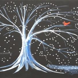"Snowy Cardinal, acrylic, 6""x6"""