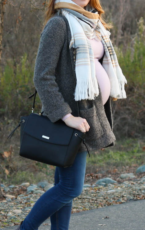 gray coatigan, blush pink tee, plaid scarf, winter style, maternity style