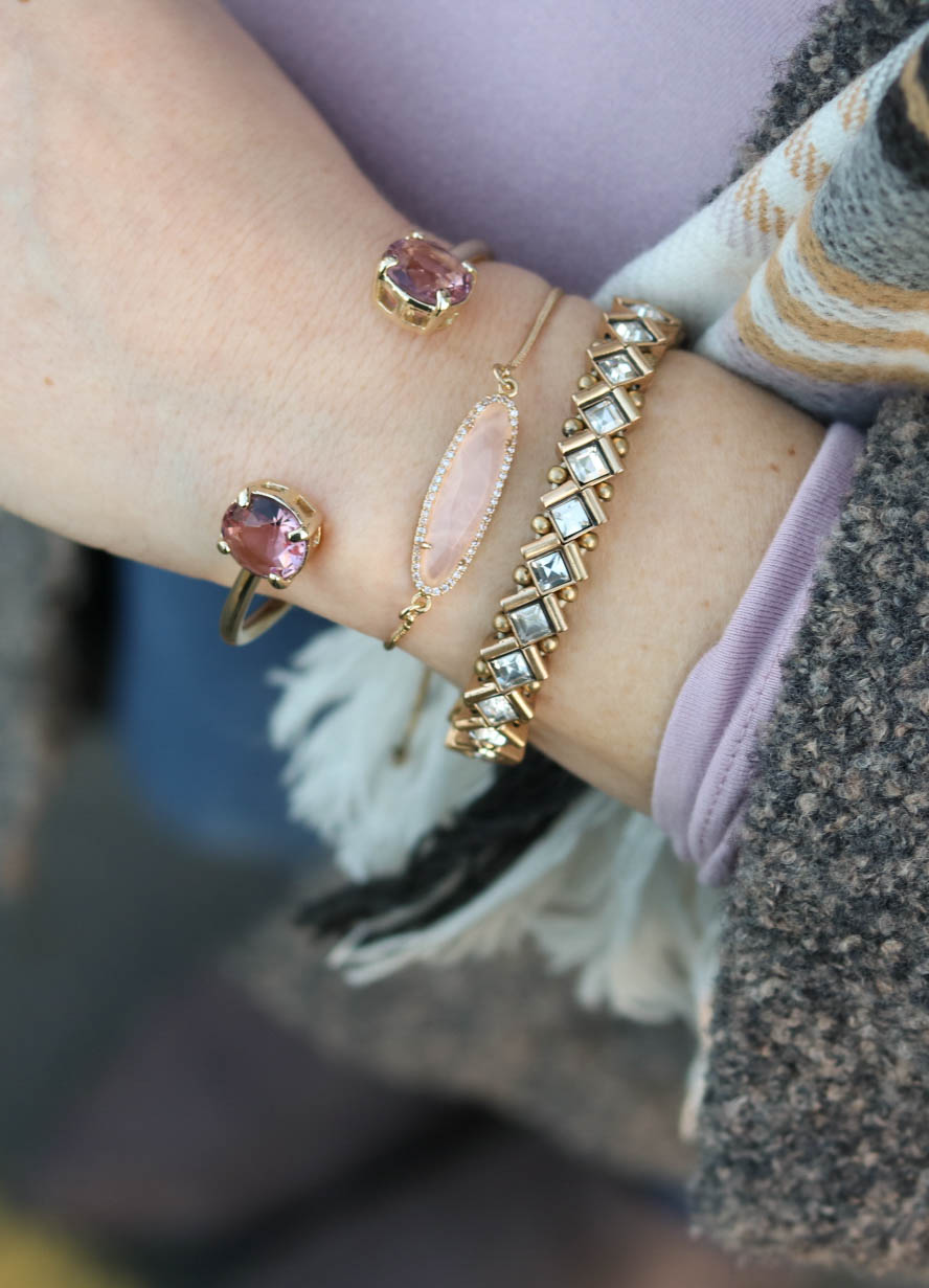 pink and gold accessories, winter style