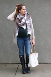 cardigan, plaid scarf, jeans, hunter rain boots