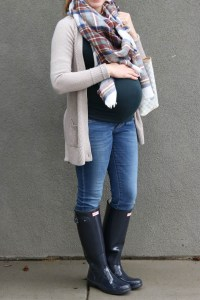 cardigan, plaid scarf, jeans, hunter rain boots