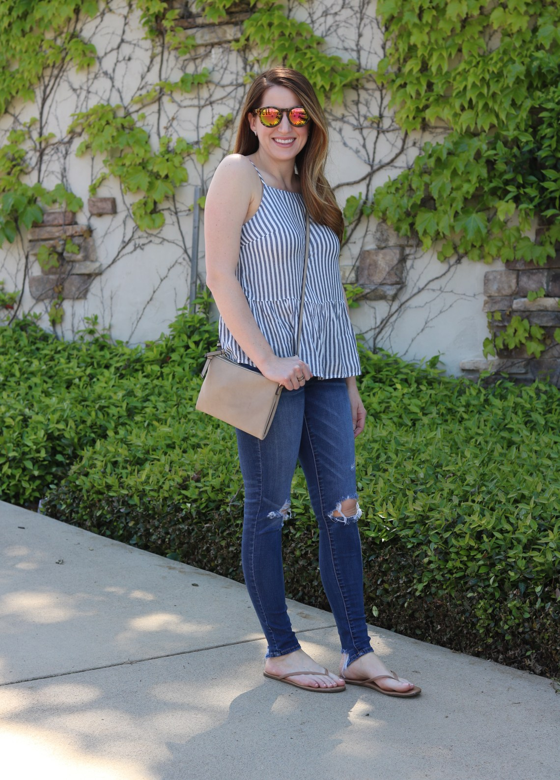 striped peplum top, distressed jeans
