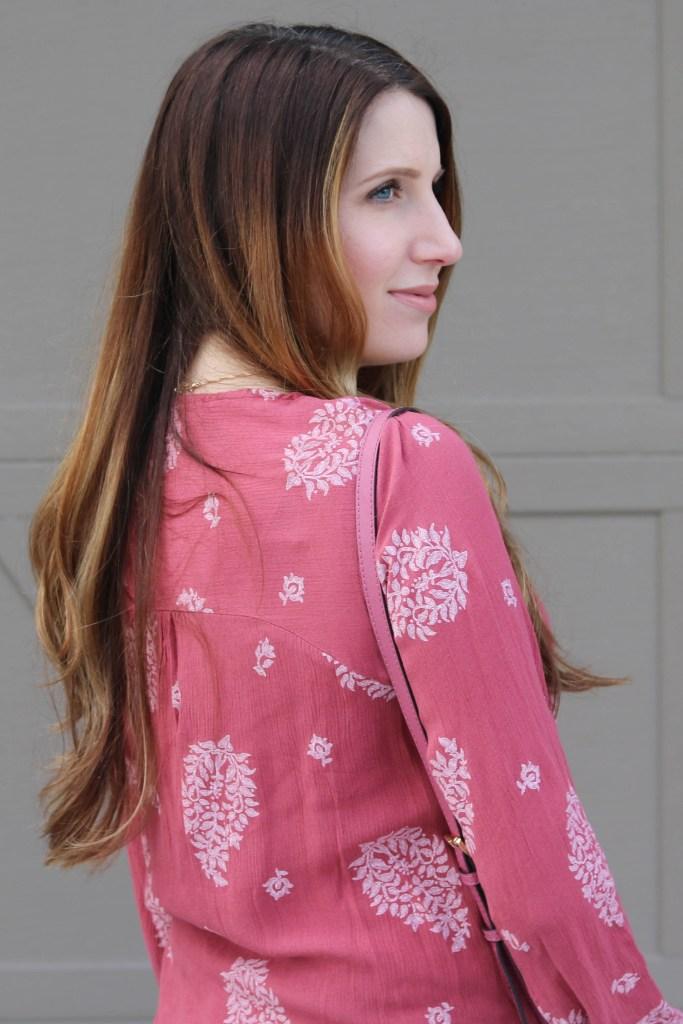 pink floral top, boho