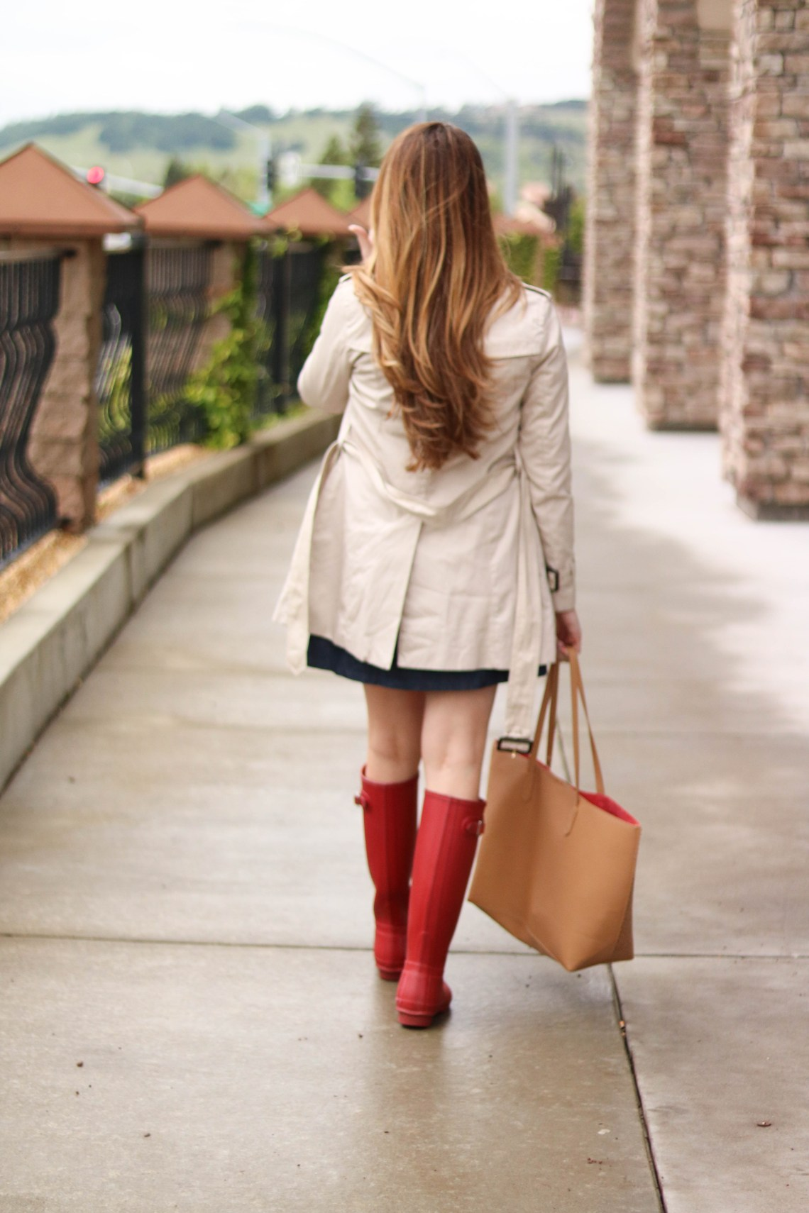 red rain boots, trench coat